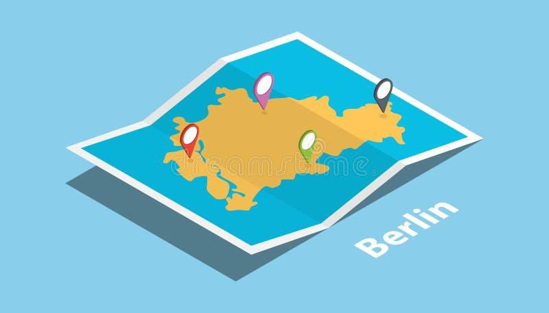 重庆探索有被折叠的地图的地图地点并且别住地点在等量样式的制造商目的地 向量例证