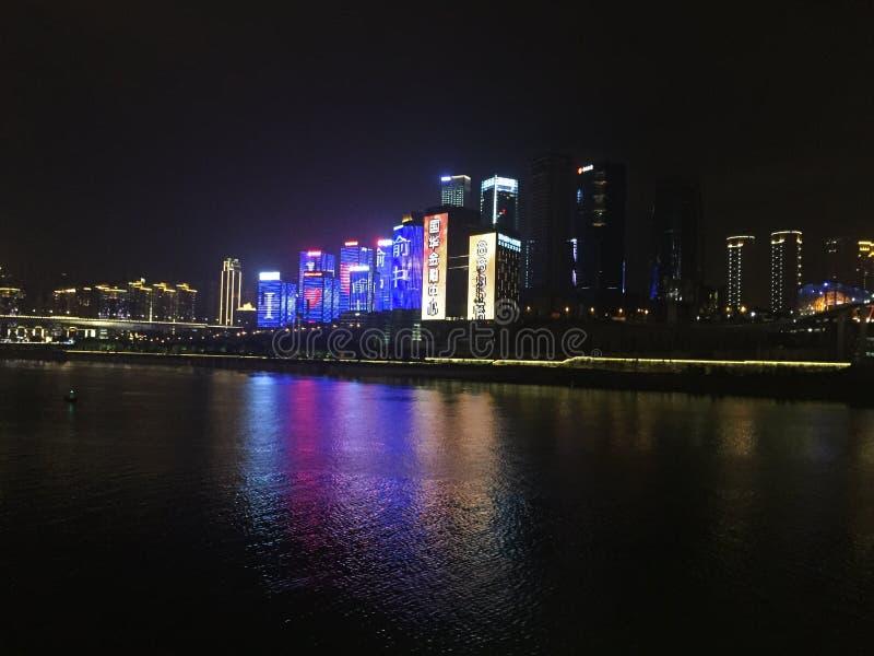 重庆洪崖洞在夜附近 免版税库存图片