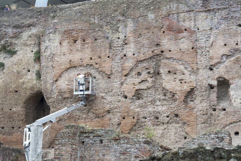 重建者砖墙,砖石工的恢复 库存照片