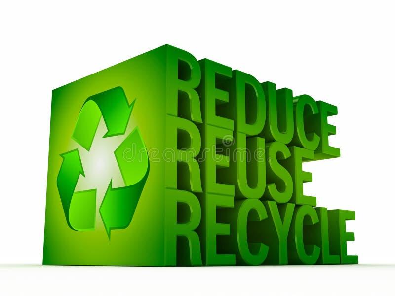 重新使用 减少 回收|3D挤压了文本 皇族释放例证