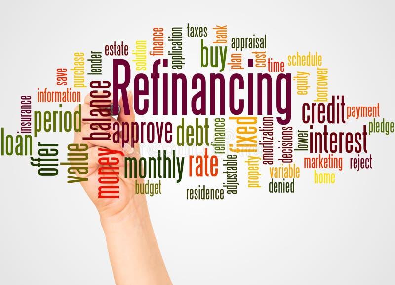 重新贷款的词云彩和手有标志概念的 免版税库存照片