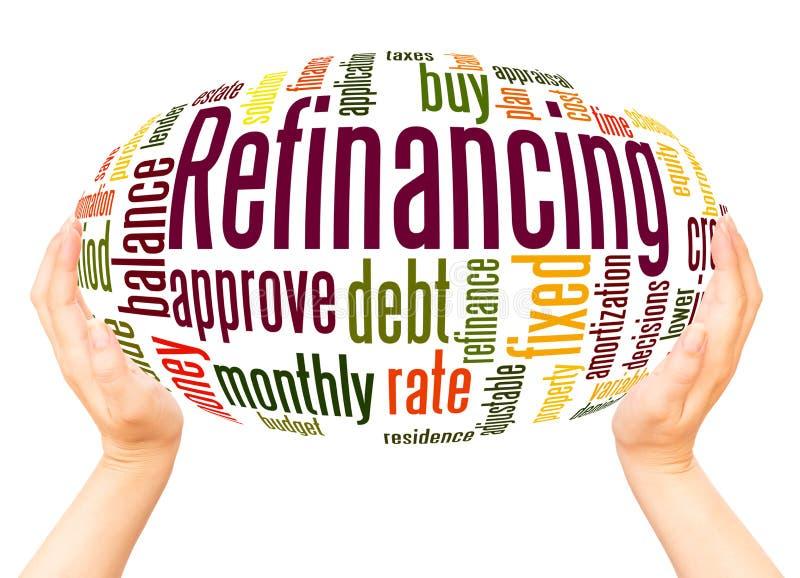 重新贷款的词云彩手球形概念 免版税库存照片