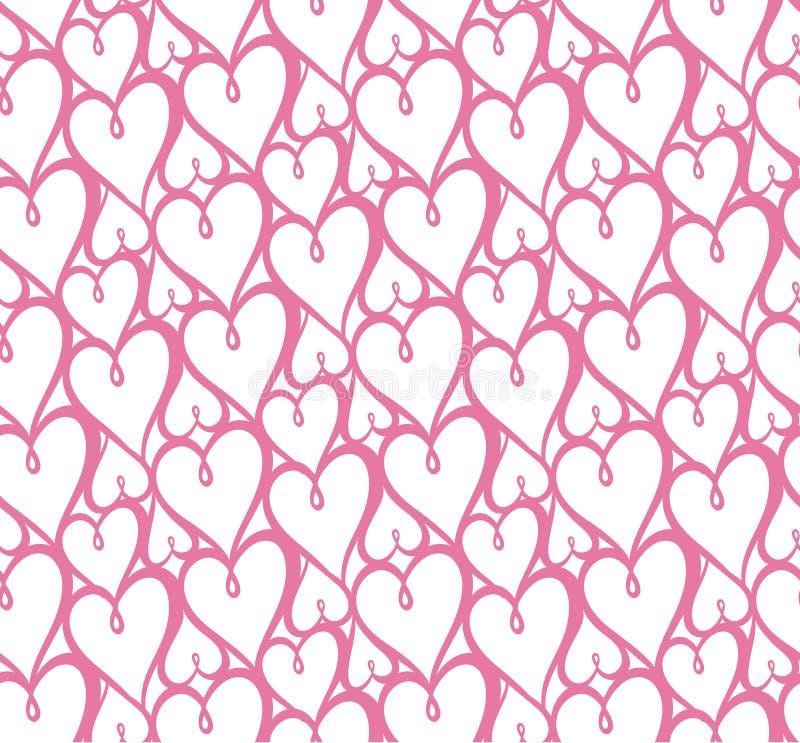 重点仿造无缝 重复纹理的传染媒介 valentin集合 库存例证
