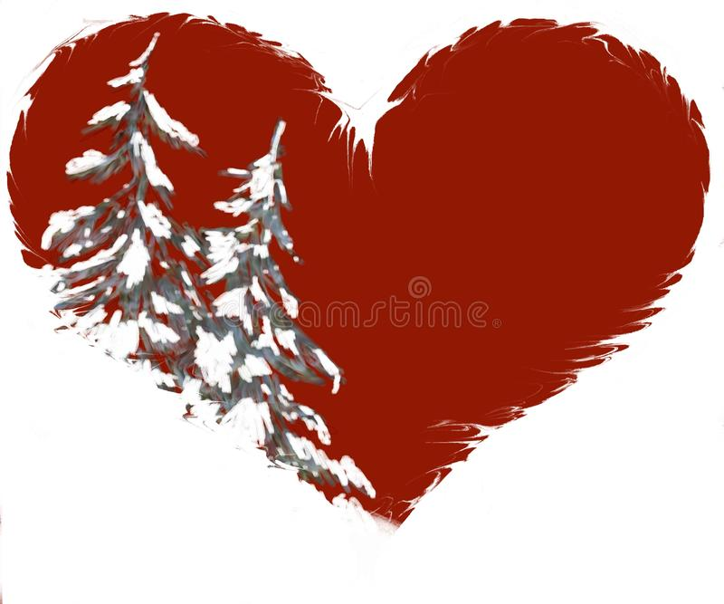 重点例证杉木形状多雪的结构树 皇族释放例证