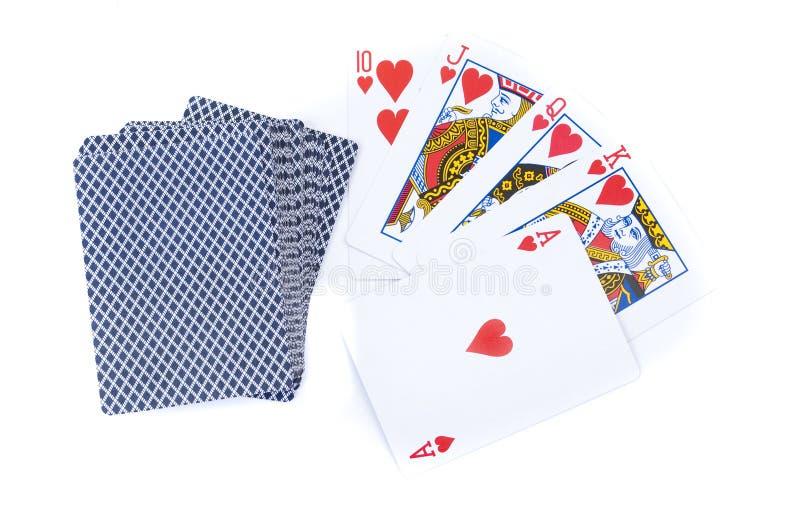 重点和卡片组同花大顺  免版税库存照片