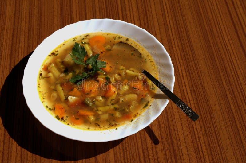 重点宏观浅汤蔬菜 库存图片