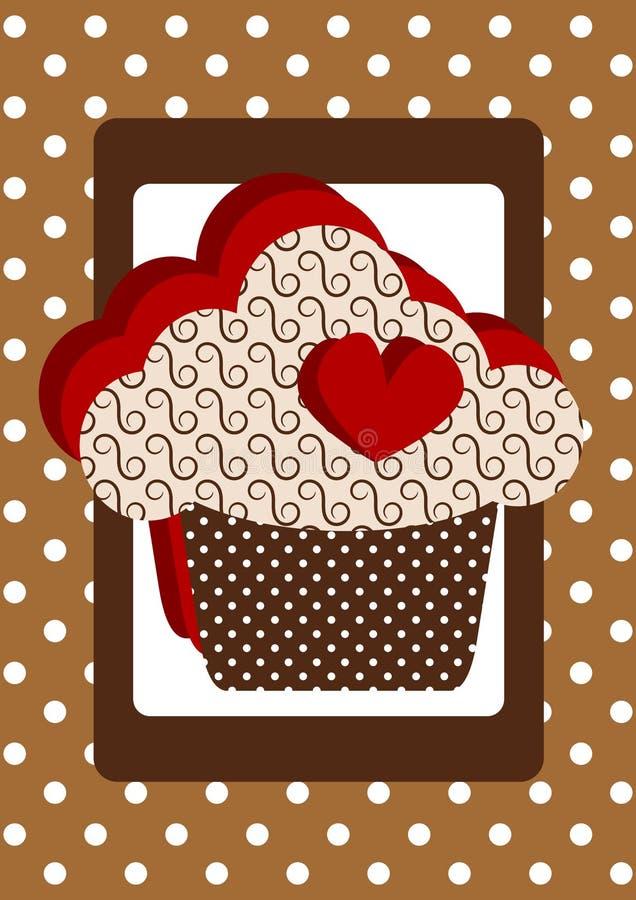 重点杯形蛋糕圆点花样的布料看板卡 向量例证