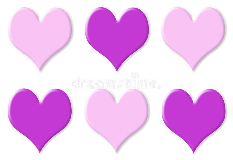 重点桃红色紫色六 库存照片