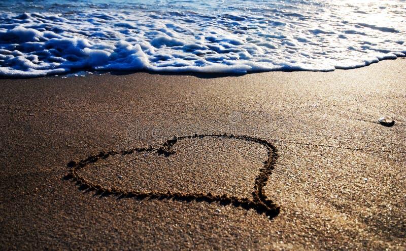 重点湿概述的沙子 免版税库存照片