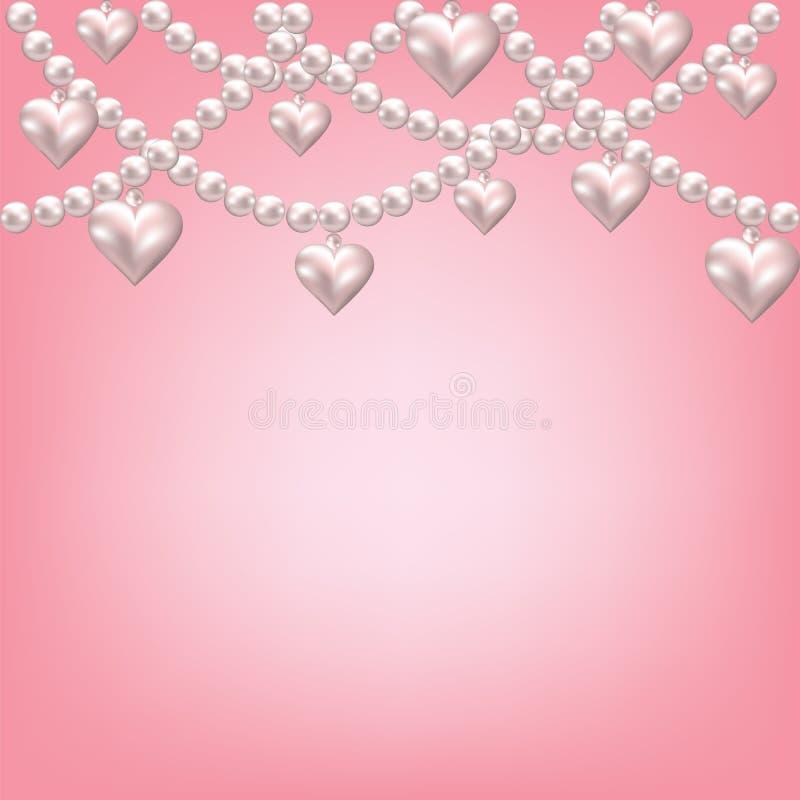 重点珍珠项链 向量例证