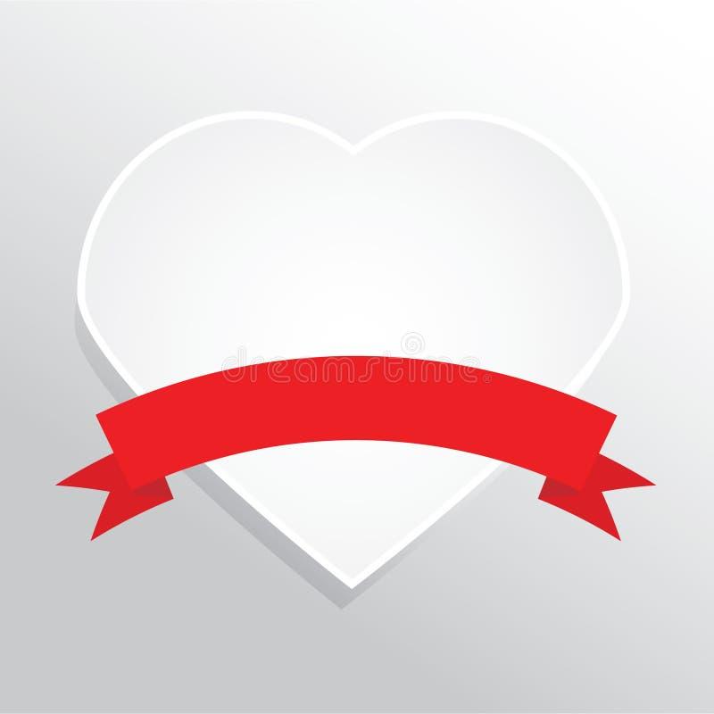 重点纸红色丝带 现实空白的传染媒介例证,设计元素 库存例证