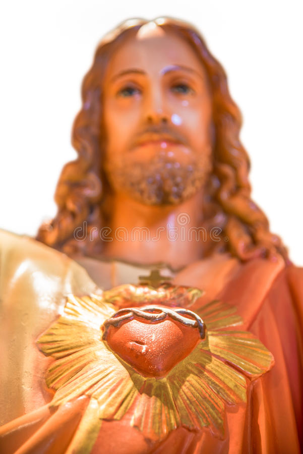 重点耶稣神圣的雕象 免版税库存照片