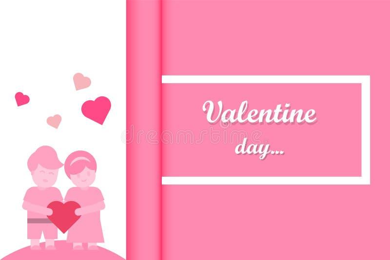 重点 拿着心脏的夫妇 桃红色背景卷轴式记录纸 向量例证