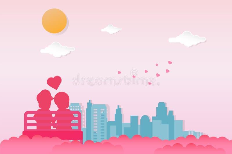 重点 选址在户外椅子的夫妇看城市视图在与太阳和云彩的清楚的天空 库存例证