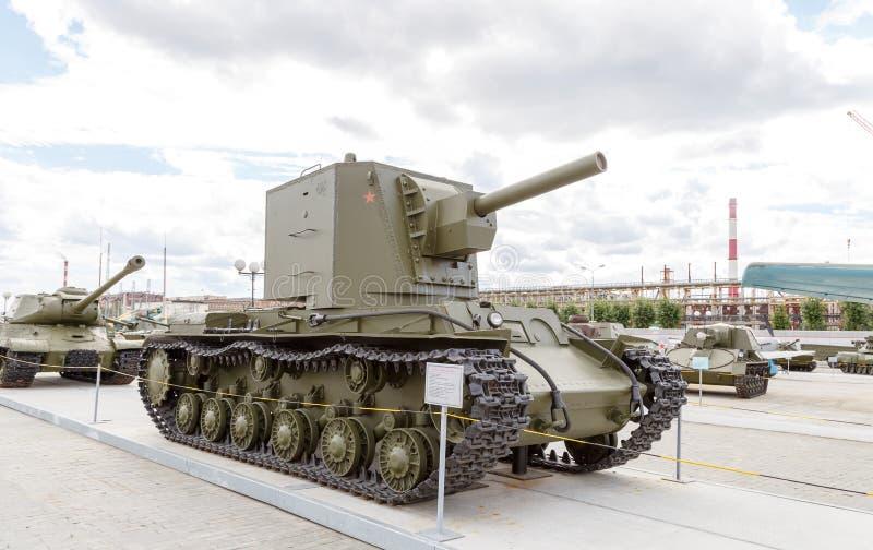 重的坦克KV-2 mod 1940年 Pyshma, Ekaterinburg,俄罗斯- 8月 免版税库存照片