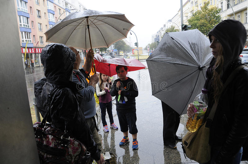 重的多雨天气在柏林德国 免版税库存照片