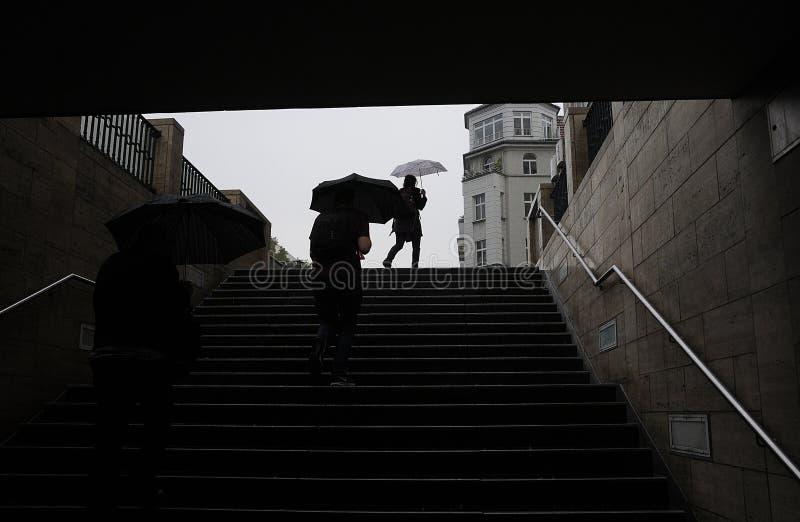 重的多雨天气在柏林德国 图库摄影