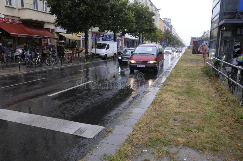 重的多雨天气在柏林德国 库存照片