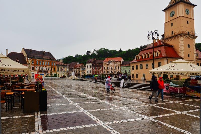 重的暴雨,布拉索夫,罗马尼亚 免版税库存图片