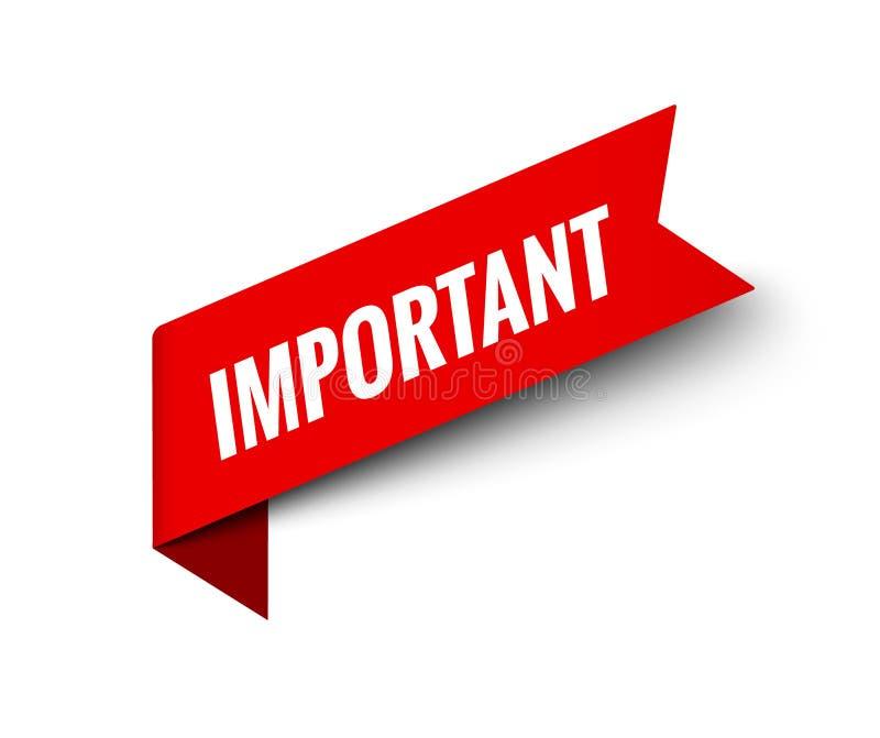 重要通知注意横幅信息 仔细的机敏的标志 重要通知贴纸 库存例证