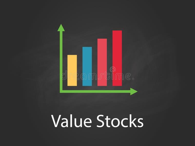 重视股票与五颜六色的酒吧、白色文本和黑背景的图例证 向量例证