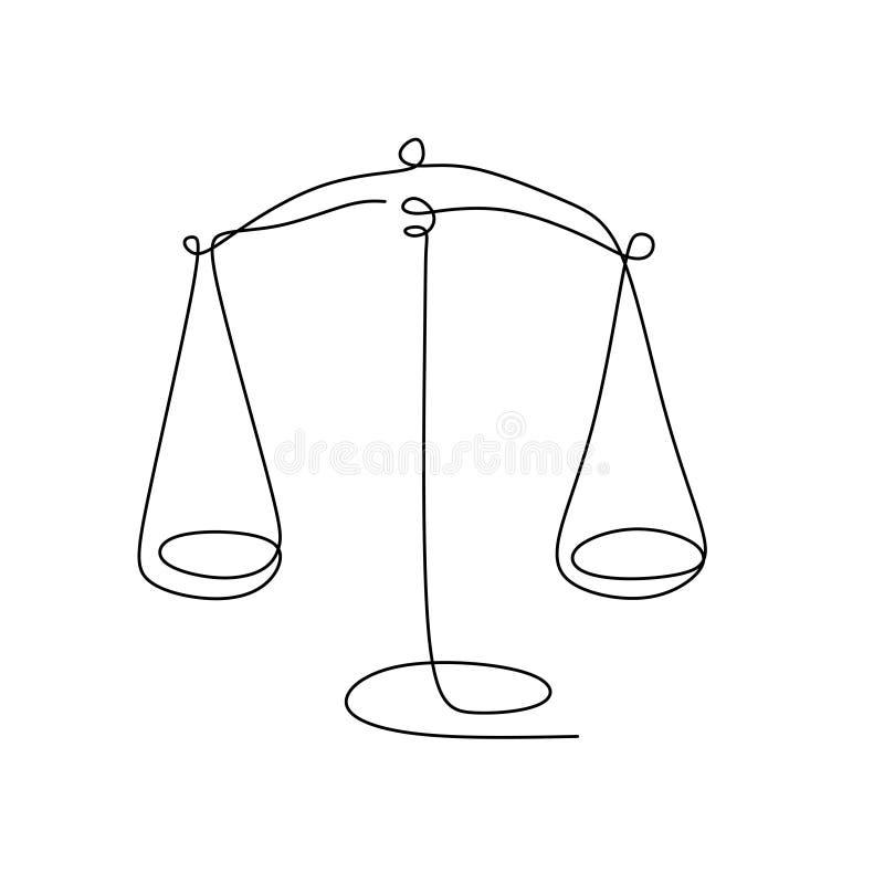 重量平衡标志 天秤座或法律身分一线绘画风格传染媒介例证 皇族释放例证