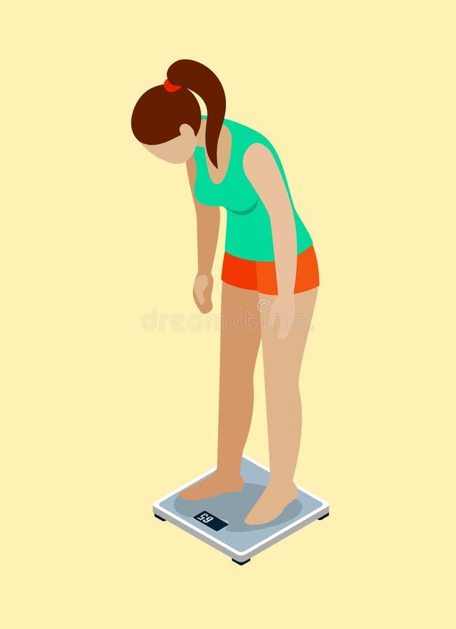 重量措施妇女饮食炫耀平的3d等量传染媒介 皇族释放例证