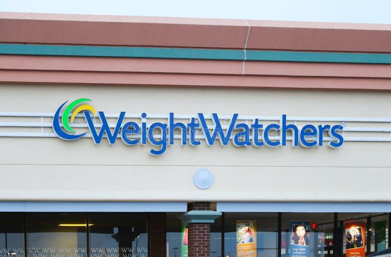 重量看守人公司办公室大厦 重量看守人是公司提供的减重产品和服务 免版税库存照片