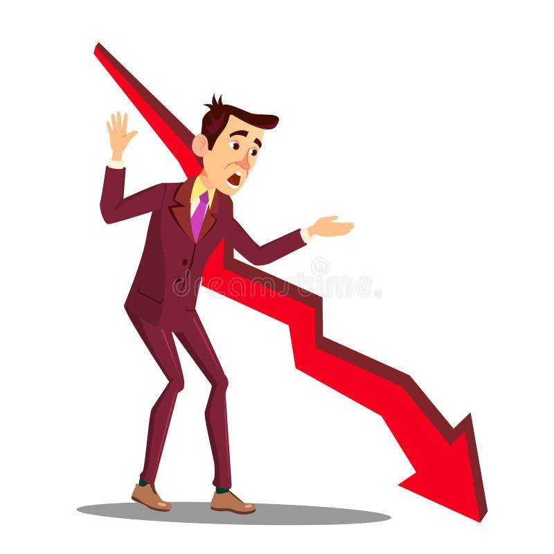 重音的经理在下跌的销售图表传染媒介旁边箭头  按钮查出的现有量例证推进s启动妇女 向量例证