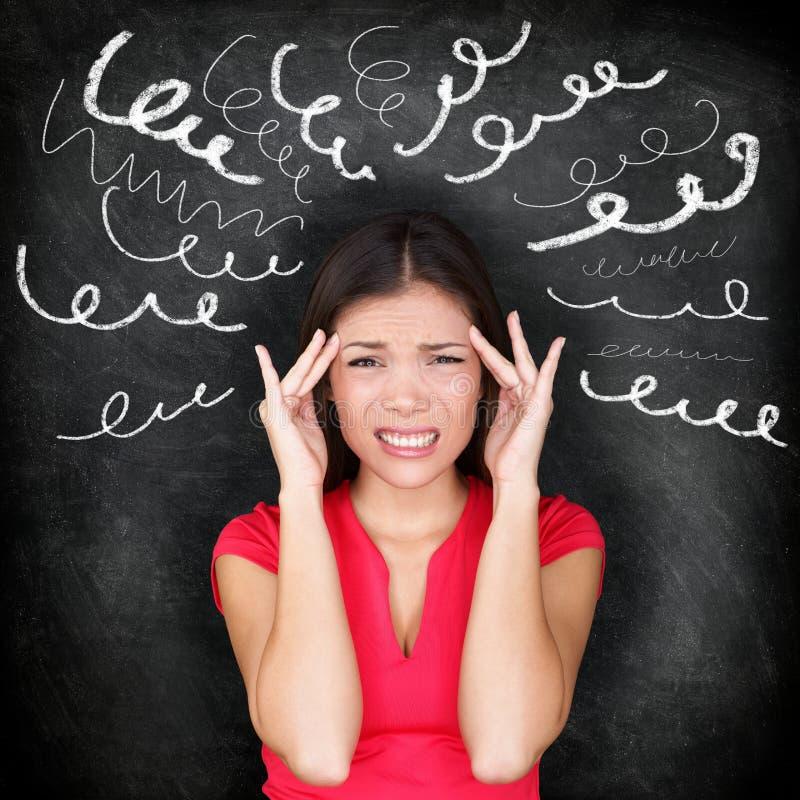 重音-妇女注重与头疼 免版税库存图片