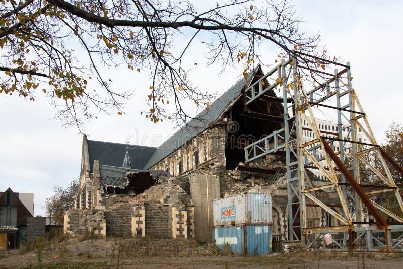 重建克赖斯特切奇大教堂 库存照片
