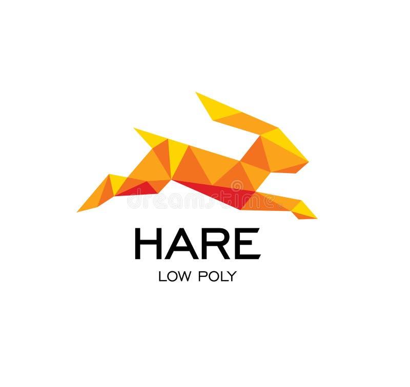 野兔几何标志,兔子抽象多角形传染媒介商标模板 低Origami橙色颜色多野生动物象 向量例证