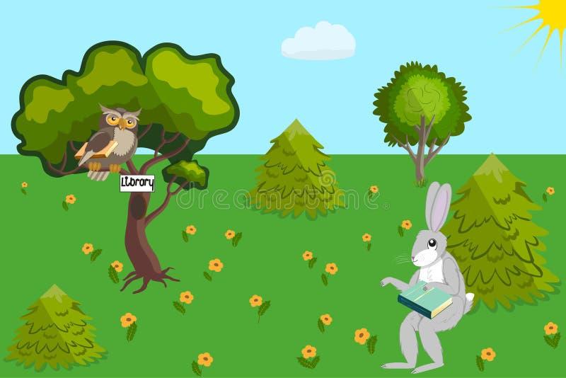 野兔和猫头鹰图书管理员 皇族释放例证