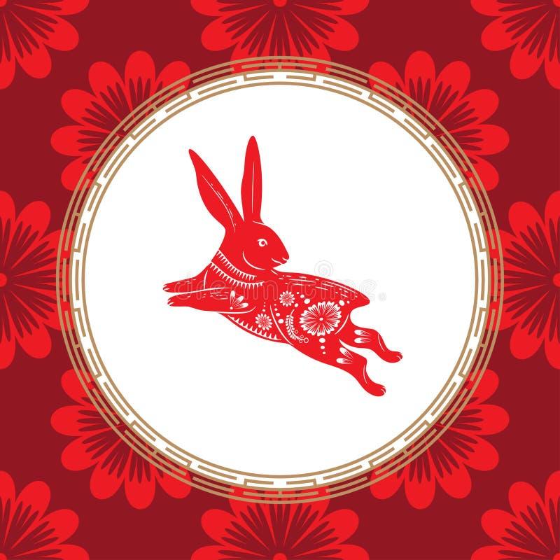 野兔的年的十二生肖标志 与白色装饰品的红色野兔 东部占星的标志 库存例证