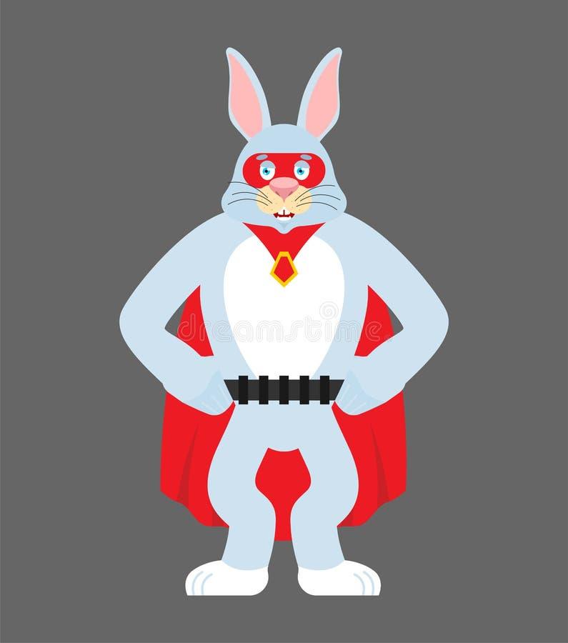野兔超级英雄 在面具和雨衣的超级兔子 强的兔宝宝 皇族释放例证