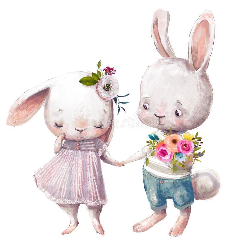 野兔逗人喜爱的夫妇  免版税库存照片