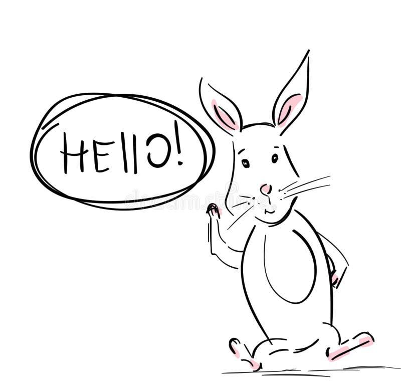 野兔 与谈话泡影和手拉的讲话的凉快的兔子 库存例证
