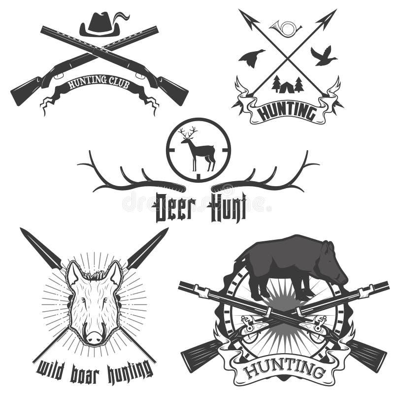 野公猪狩猎标签 库存例证