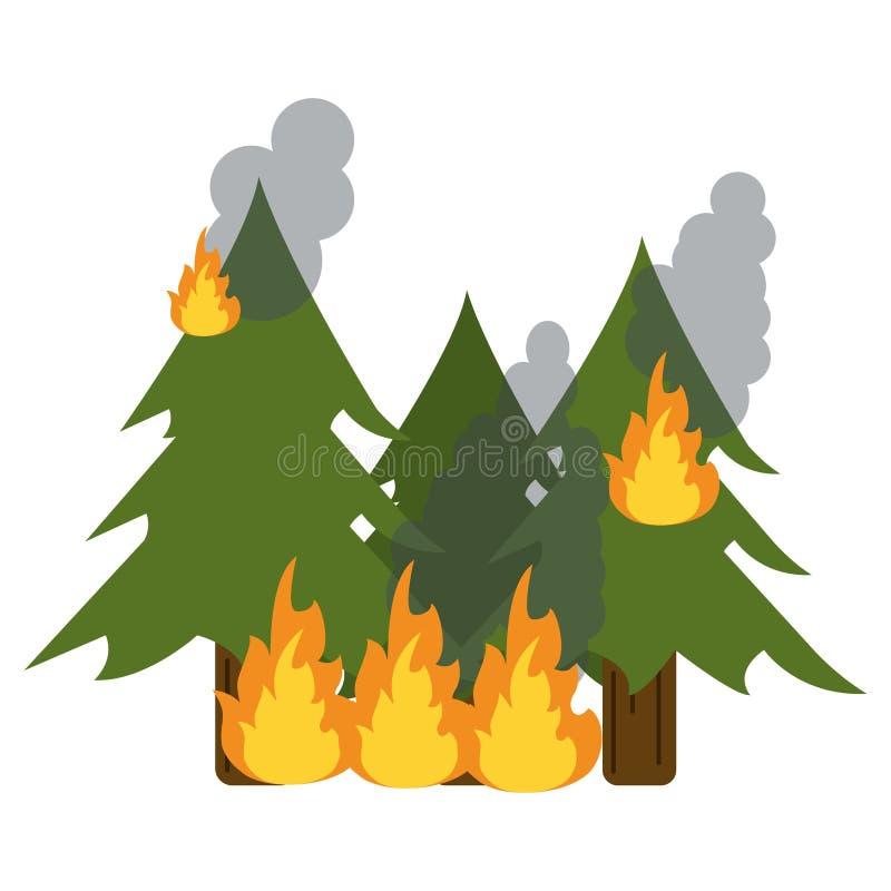 野火毁坏杉木工作服 向量例证