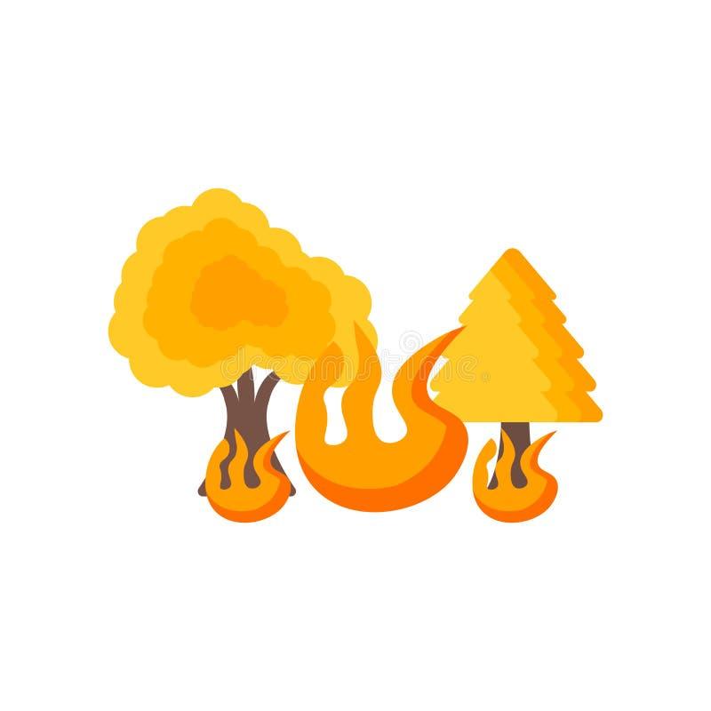 野火象在白色backgroun和标志隔绝的传染媒介标志 向量例证