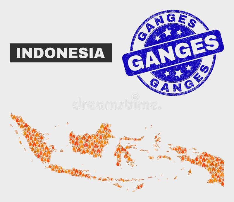 野火马赛克印度尼西亚地图和困厄恒河水印 向量例证