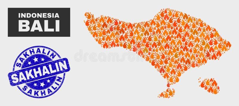野火马赛克巴厘岛地图和难看的东西萨哈林岛水印 向量例证