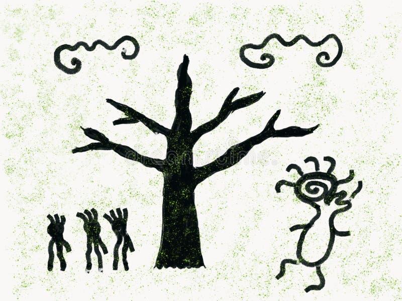 野生人在森林跳舞精神上 免版税库存照片