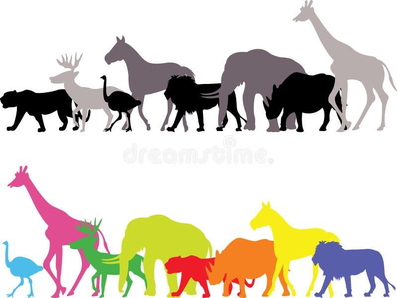 野生动物剪影 库存例证