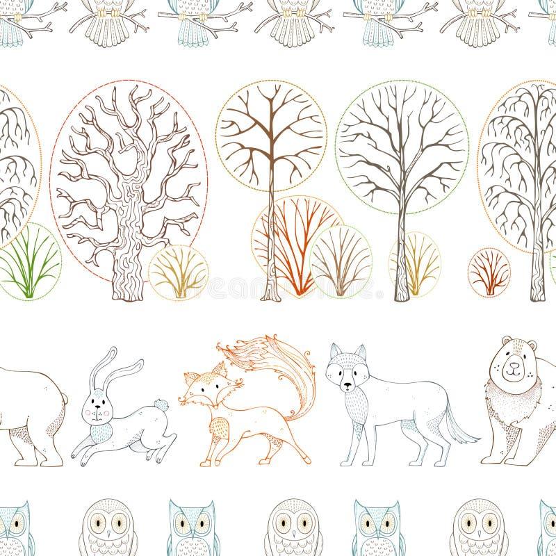 野生动物在秋天森林导航无缝的样式 向量例证