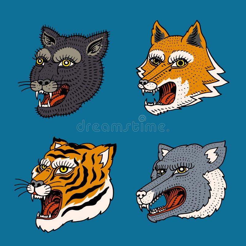 野生动物掠食性动物头  美洲狮狼Fox老虎面孔 日本风格画象 老手拉的被刻记的黑白照片 皇族释放例证