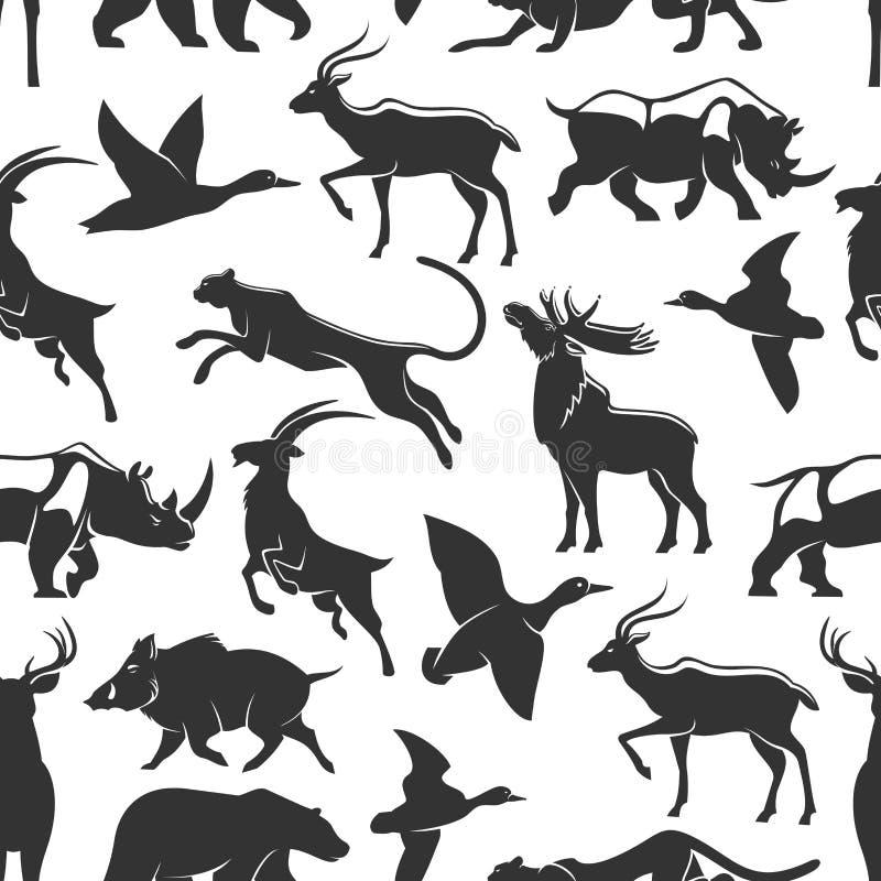 野生动物狩猎,无缝的样式 库存例证