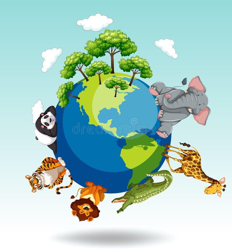 野生动物环球 库存例证