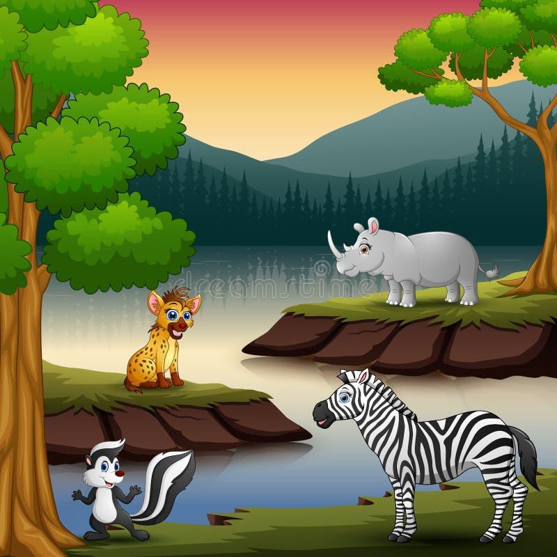 野生动物由湖享受自然 库存例证