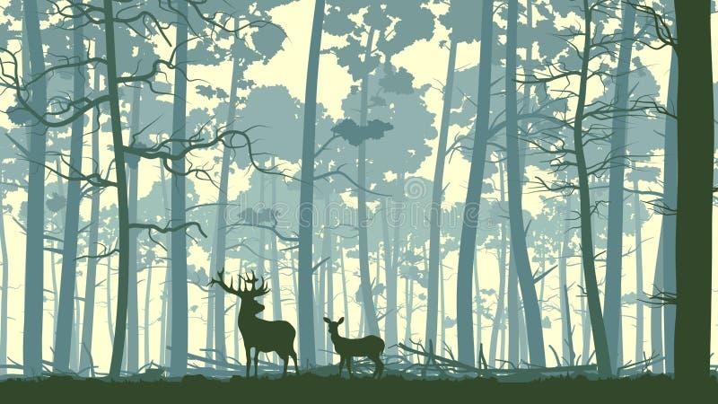 野生动物的抽象例证在木头的。 库存例证
